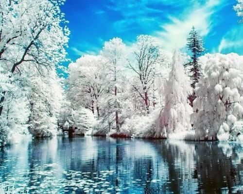 Картина рисование по номерам Чарівний діамант Зимнее озеро РКДИ-0068 40х50см набор для росписи, краски, кисти,