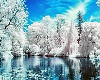 Картина рисование по номерам Чарівний діамант Зимнее озеро РКДИ-0068 40х50см набор для росписи, краски, кисти,, фото 1