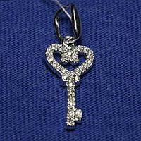 Серебряный кулон Ключ с цирконием 3178-р, фото 1