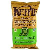 ОРИГІНАЛ!Kettle Foods,Картопляні чіпси з обсмаженого картоплі з кропом 142 грам виробництва США