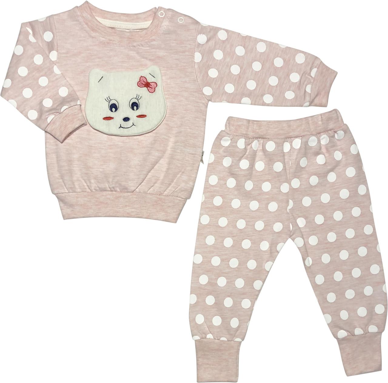 Детский костюм на девочку рост 74 6-9 мес для новорожденных малышей костюмчик комплект трикотажный розовый