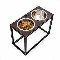 HARLEY & CHO (Харли энд Чо) Dinner - Мисочки на деревянной подставке для больших собак, фото 1