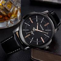 Мужские часы Yazole 358 черные с черным ремешком, Чоловічий наручний годинник, Часы наручные мужские
