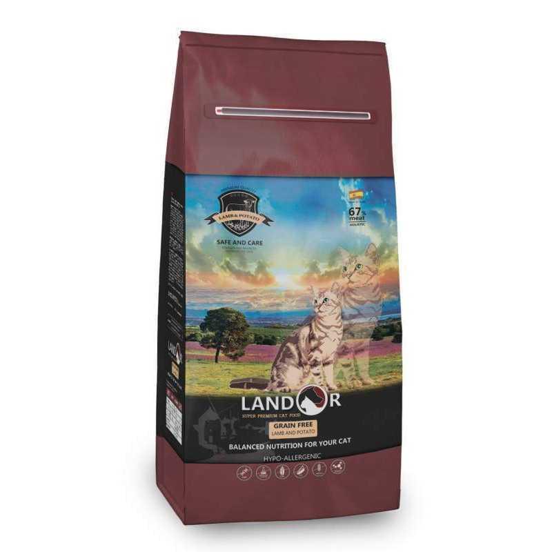 Landor (Ландор) Grain Free&Hairball Cat Lamb&Potato - Сухой беззерновой корм с ягненком и бататом для взрослых кошек с функциями контроля веса и