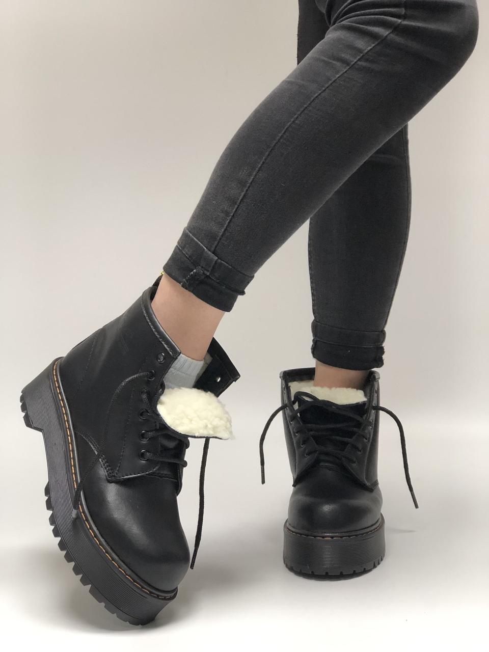 Женские ботинки Dr Martens Jadon в стиле Доктор Мартинс Черные НА МЕХУ (Реплика ААА+)
