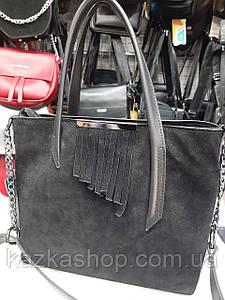 Стильная женская сумка со вставкой замша, искусственная кожа, один отдел, плечевой ремень