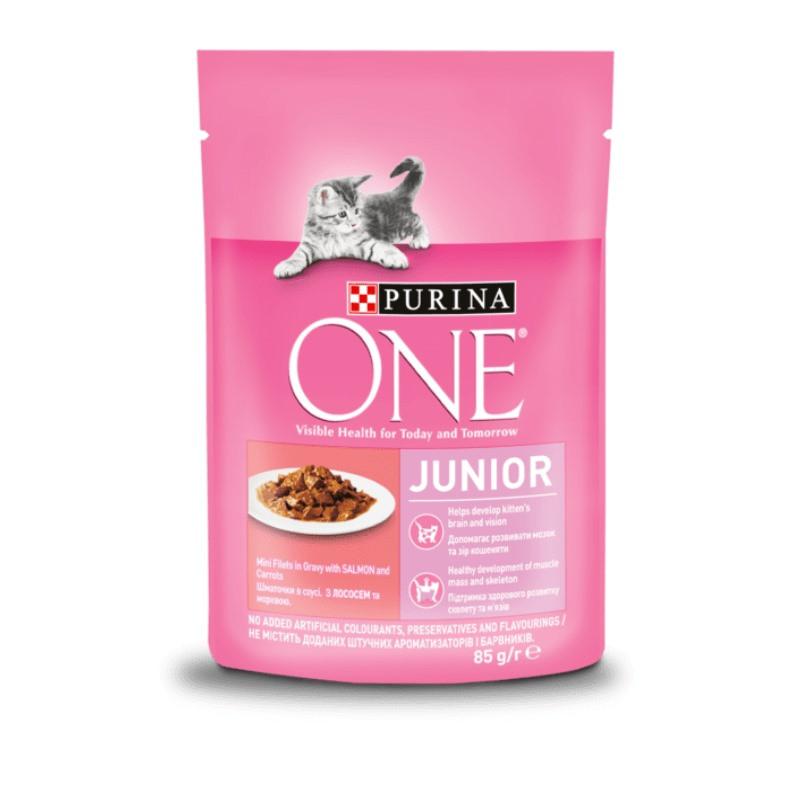 Purina ONE (Пурина Ван) JUNIOR Cat - Пауч для котят и лактирующих кошек с лососем и морковью