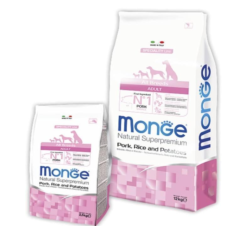 Monge (Монж) DOG All breeds Adult - Сухой корм со свининой, рисом и картофелем для взрослых собак всех пород