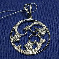 Круглый серебряный кулон с цирконием 3717-р, фото 1