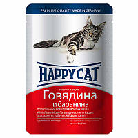 Happy Cat (Хэппи Кэт) - Консервированный корм с говядиной и бараниной для котов (кусочки в желе)