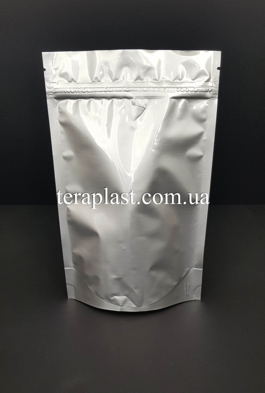 Дой-Пак 500г серебро 180х280 с зип замком