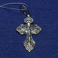 Серебряный православный крест с чернением Откровение 3135-ч