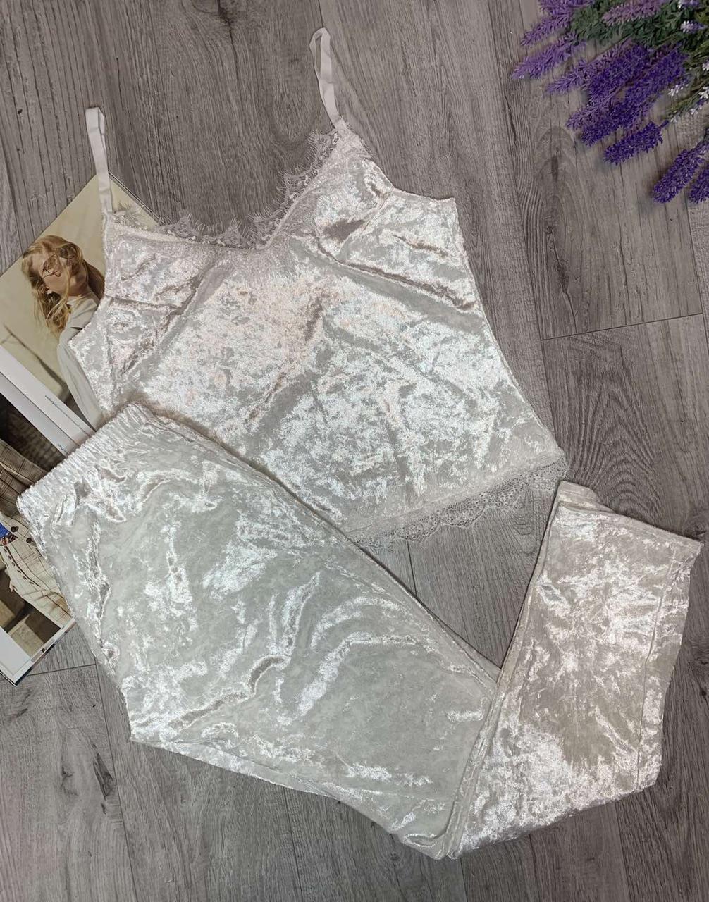 Пижама из редкого турецкого мраморного велюра с кружевом, комплект майка и брюки