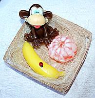 """Набор мыла ручной работы """"Смешная обезьянка, банан, мандарин"""""""