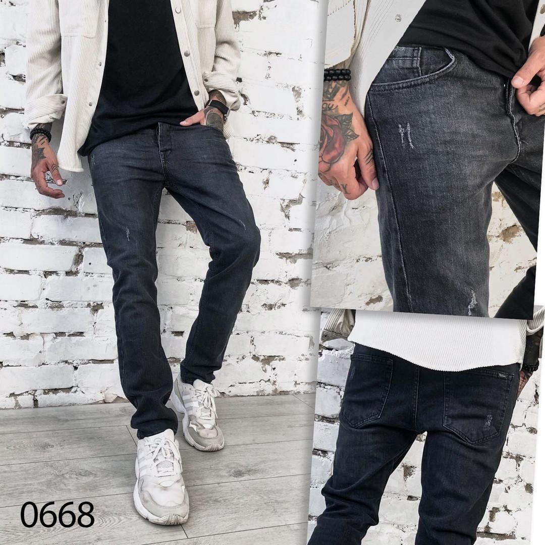 Мужские темно-серые джинсы 1-0668