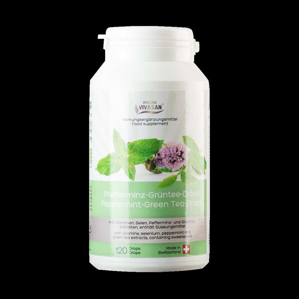 Таблетки Зеленый чай с перечной мятой Peppermint Green Tea Drops Вивасан Швейцария 120 шт