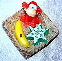 """Набор мыла ручной работы """"Смешная обезьянка, бананчик, снежинка"""""""