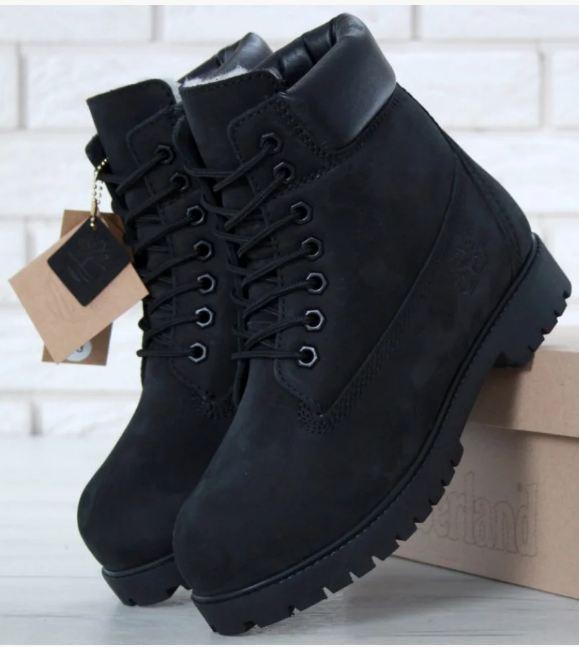 Мужские ботинки Timberland в стиле Тимберленд Черные НАТУРАЛЬНЫЙ МЕХ (Реплика ААА+)