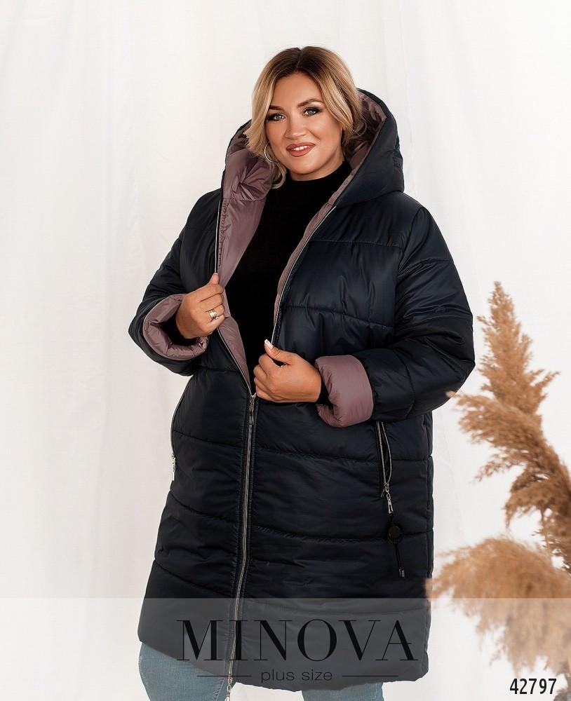 Стильна демісезонна подовжена куртка з капюшоном розміри:56-62
