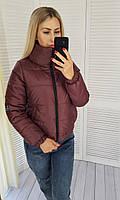 Женская куртка бомбер с воротником стойкой, арт 405, цвет марсала / сливовый цвет