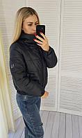 Женская куртка бомбер с воротником стойкой, арт 405, цвет чёрный / чёрного цвета