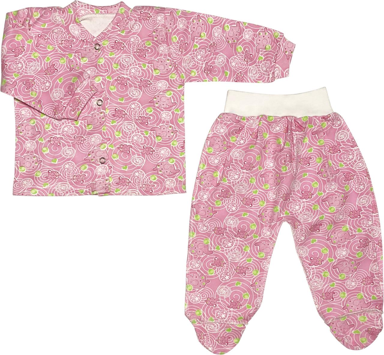 Дитячий костюм зростання 62 2-3 міс трикотажний інтерлок рожевий костюмчик на дівчинку комплект для новонароджених малюків Р255