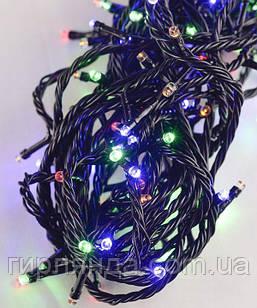 Вулична 100 LED 8м, чорний ПВХ провід 2мм ,  мульті