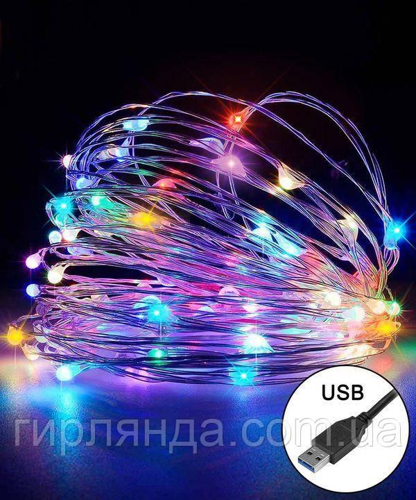 РОСА 100 LED, 220В + USB, 10м, мульті RGB +FLASH