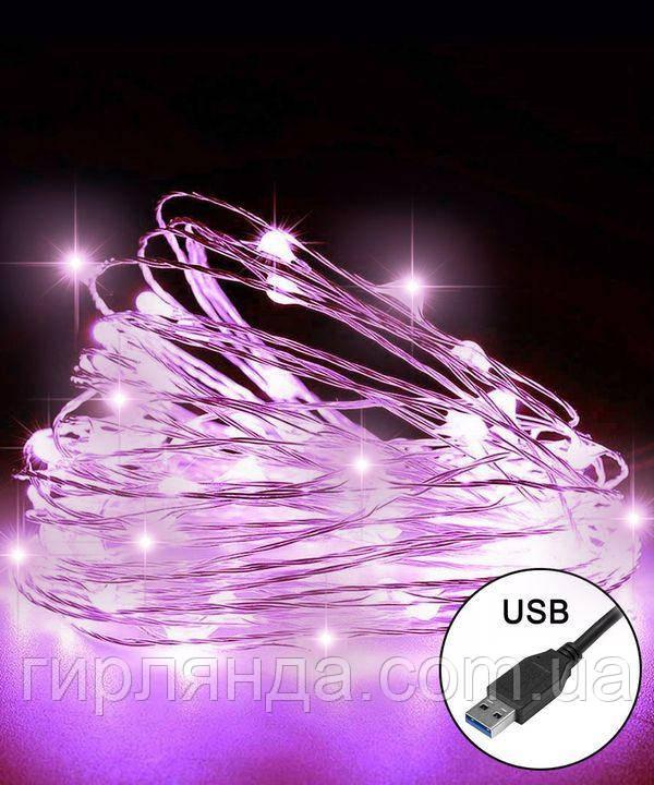 РОСА 100 LED, 220В +USB,   10м, фіолетовий +FLASH