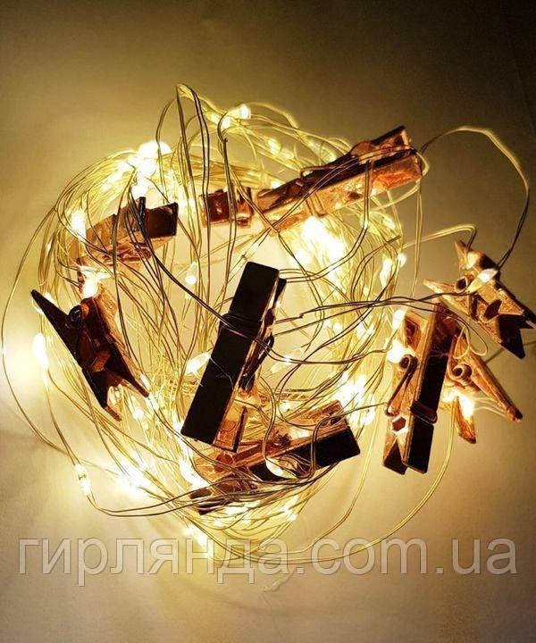 Прищіпка роса 100 LED, 10м, теплий білий
