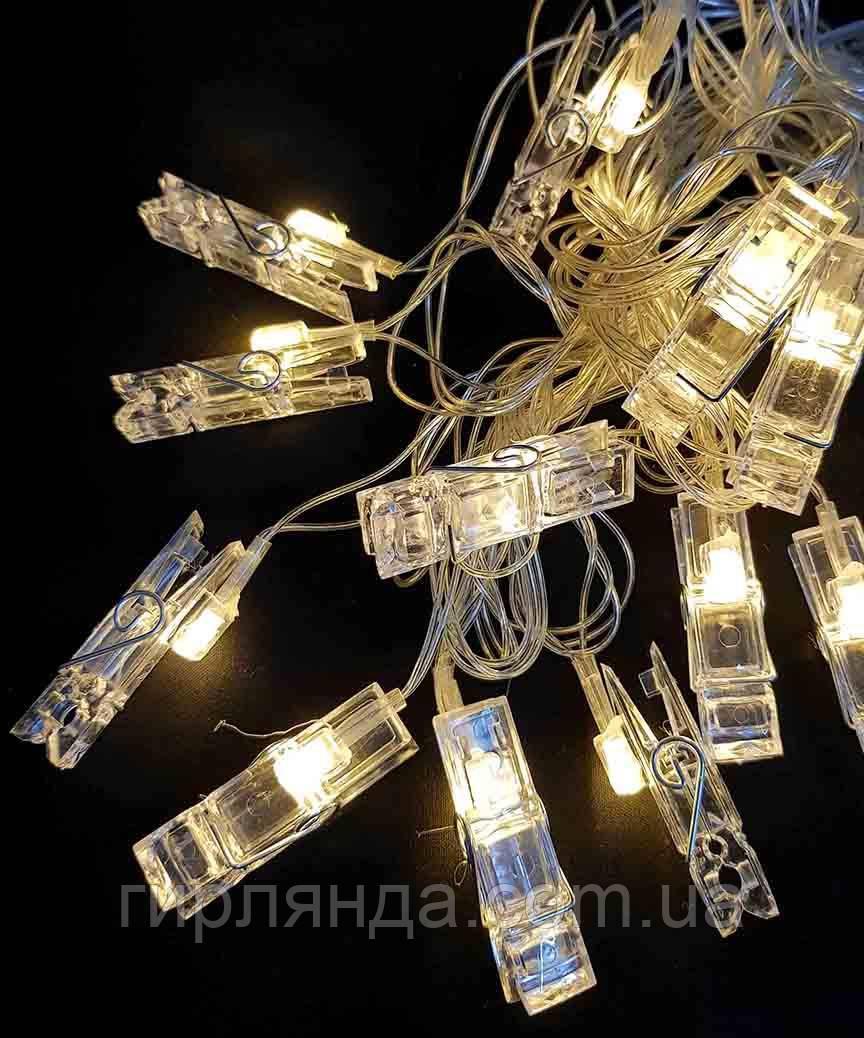 """Фігурки 20 LED, """"ПРИЩІПКИ"""", 7м+ перехідник, теплий білий"""