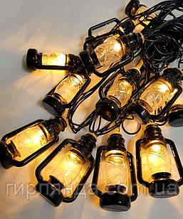 ЛІХТАРИК-2 на батарейках 10 LED+USB, 3м, теплий білий
