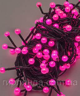 ПЕРЛИ 50 LED, 5м+ перехідник, рожевий