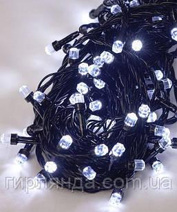 РУБІН 8мм 100 LED, чорний провід 7м, БІЛИЙ
