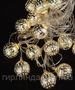 БІЛА кулька 20 LED  5м+ перехідник, теплий білий
