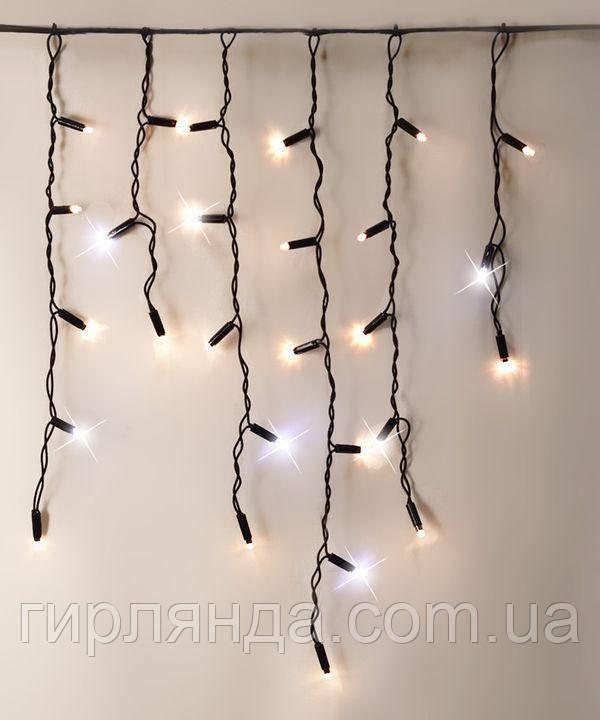 Вул. штора-дощик +FLASH 160 LED 5м*0,6 м, чорн/провід 2.2 мм, білий теплий