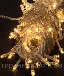 300 LED,  теплий білий  (прозорий провід)