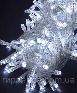 500 LED,  білий                (прозорий провід)