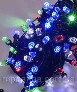 РУБІН 8мм 100 LED  чорний провід 7м,  мульті (двоколірна лампочка)
