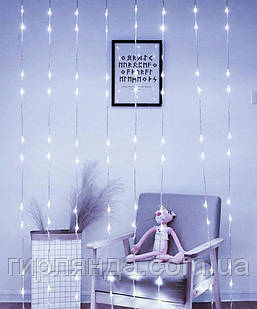 Водоспад 300 LED 3м*1,5м (8 режимів+ статичн),  білий