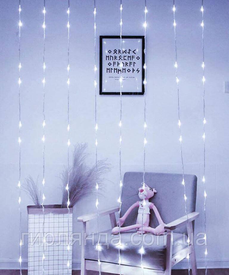 Водоспад 480 LED 3м*3м, (8 режимів+ статичн), білий