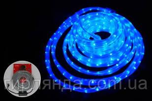 КВАДРАТНИЙ дюралайт 3-жильн  LED 10м синій