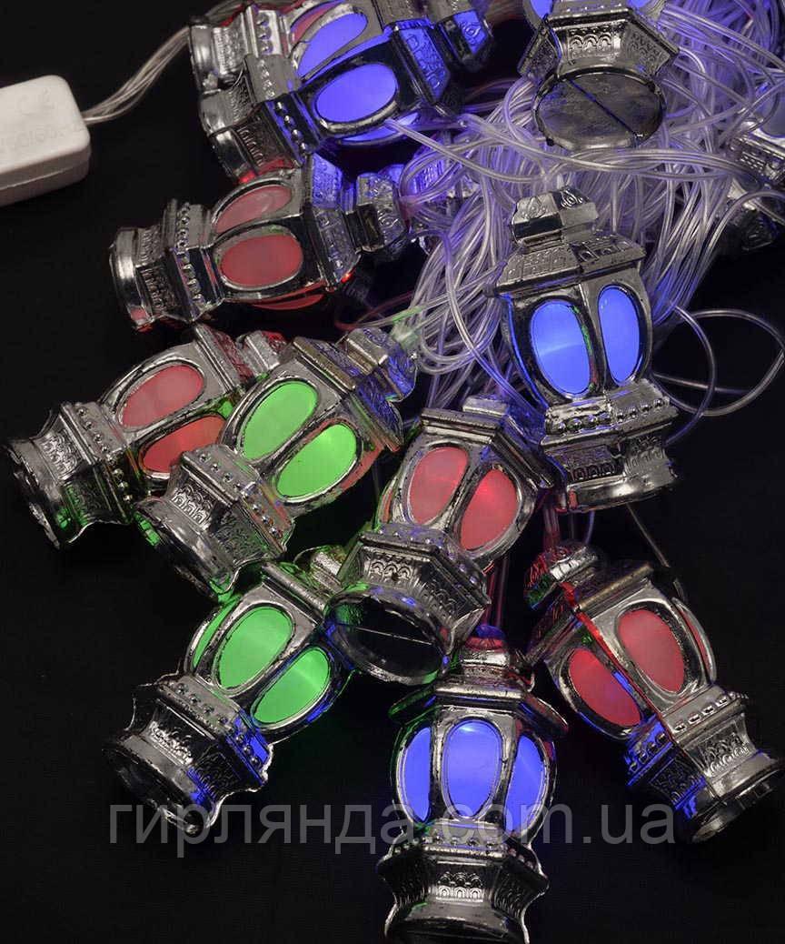 """Фігурки  20 LED, """"ЛІХТАРИК"""", 5м+ перехідник,  мульті"""