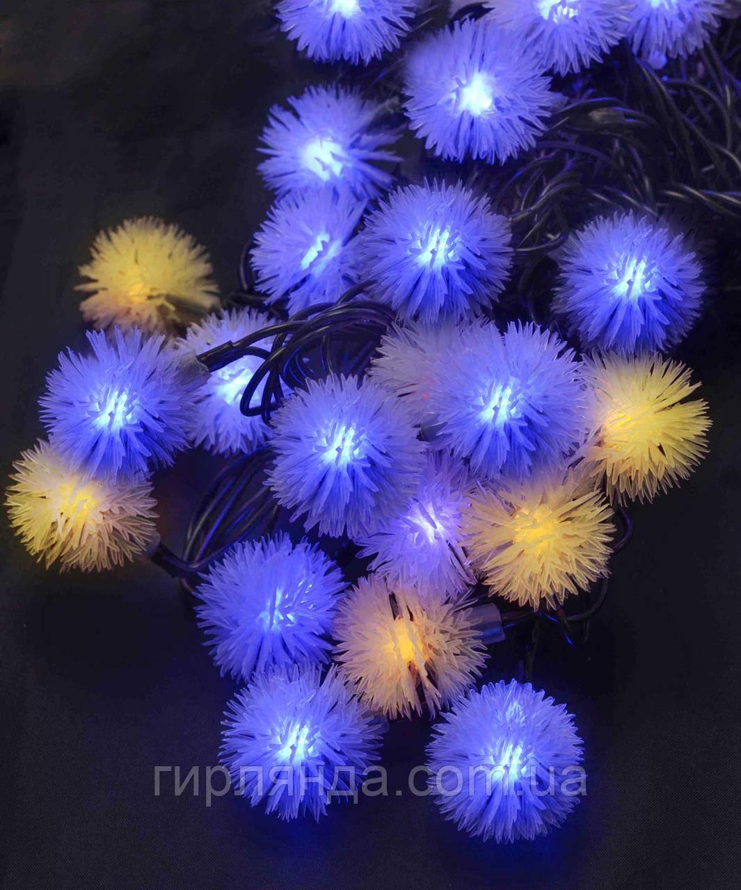 """Фігурки  40 LED, """"ПУХНАСТИК"""", 7м+ перехідник,  жовто-синій"""