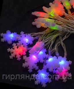 """Фігурки  20 LED, """"Сніжинка"""", 5м+ перехідник,  мульті"""