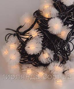 """Вуличні фігурки 40 LED """"ПУХНАСТИК"""", 7м+ перехідник, білий теплий"""