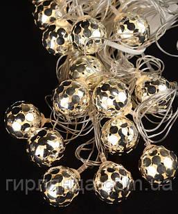 """СРІБЛО 20 LED, """"М`ЯЧИК"""", 5м+ перехідник, теплий білий"""
