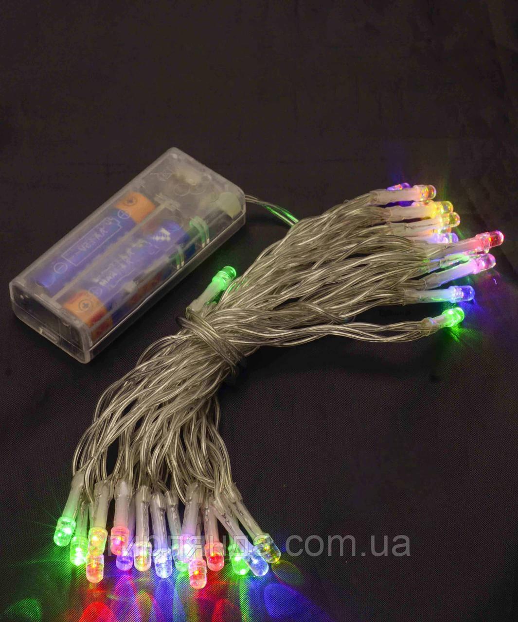 НА БАТАРЕЙКАХ 80 LED, 8м, мульті
