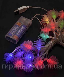 Фігурки  20 LED ШИШКА   НА БАТАРЕЙКАХ (+USB)  5м, мульті