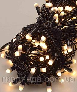 Вулична 100 LED 10м, чорний каучук 2.2мм ,  теплий білий